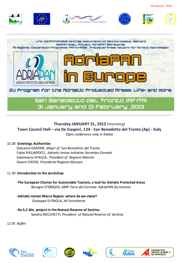 31st JANUARY 2013 - Adriapan in Europe